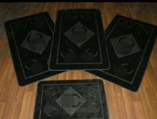 Plain Oblong Non Slip Washable Romany Traveller/Gypsy Mat Set 4Pc CC Black All Colours Available